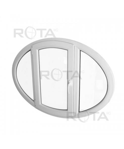 Okno owalne rozwierne 70x130cm PCV białe