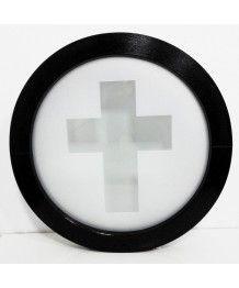 Okno okrągłe fi 70cm, FIX, dwustronny ciemny brąz, szyba mleczna DEKOR